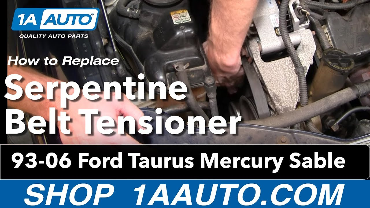 how to install replace serpentine belt tensioner ford taurus mercury sable v6 93 06 1aauto com [ 1280 x 720 Pixel ]