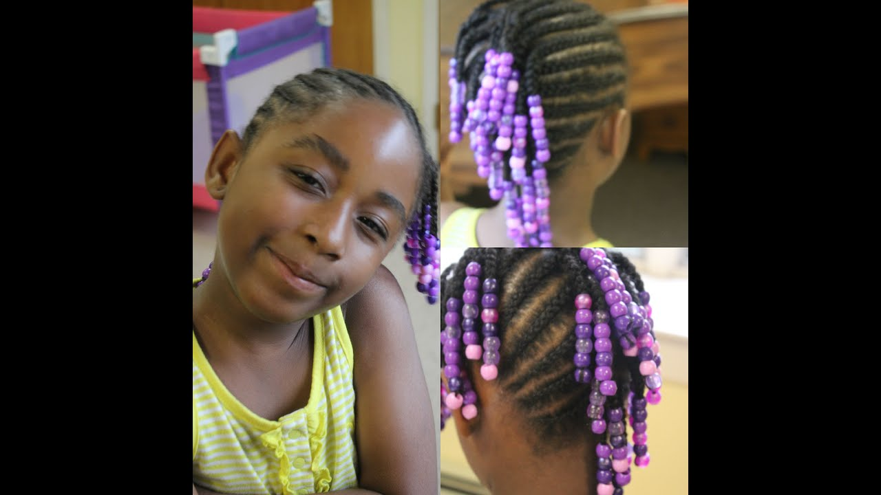 Kids Edition Side Mohawk Braids With Beads Watch Me Work Youtube
