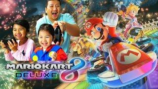 Nintendo Switch☆マリオカート8デラックス☆初プレイで大騒ぎ!【パパvsまーちゃんおーちゃんママにぃに】himawari-CH