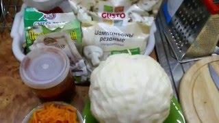 Очень вкусная тушёная капуста с грибами