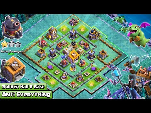 NEW BUILDER HALL 6 (BH6) BASE ANTI 1 STAR | BUILDER HALL 6 BASE 2018 | Clash Of Clans