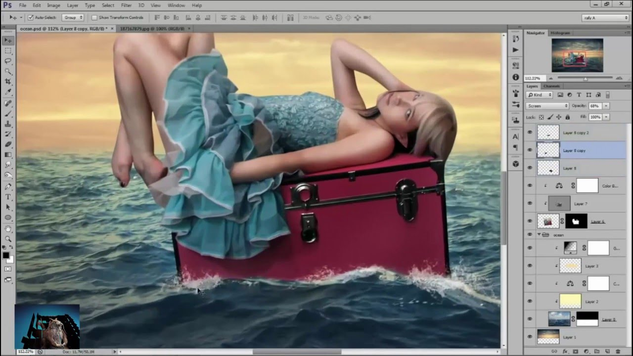 Photoshop CS2 Tutorials – Girl On The Sea – Photoshop Manipulation Tutorial