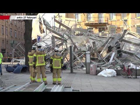 Byggnadsställning rasade – Arbetsmiljöverket anmäler företag  - Nyheterna (TV4)