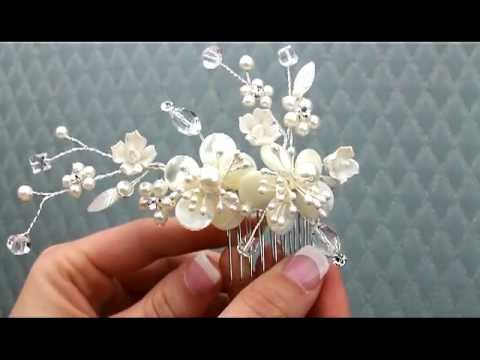 Mother Of Pearl Flower Bridal Hair Comb