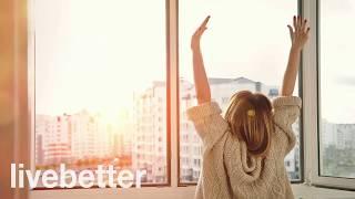 高興能源和喜悅中醒來的早晨開始與幽默的音樂天