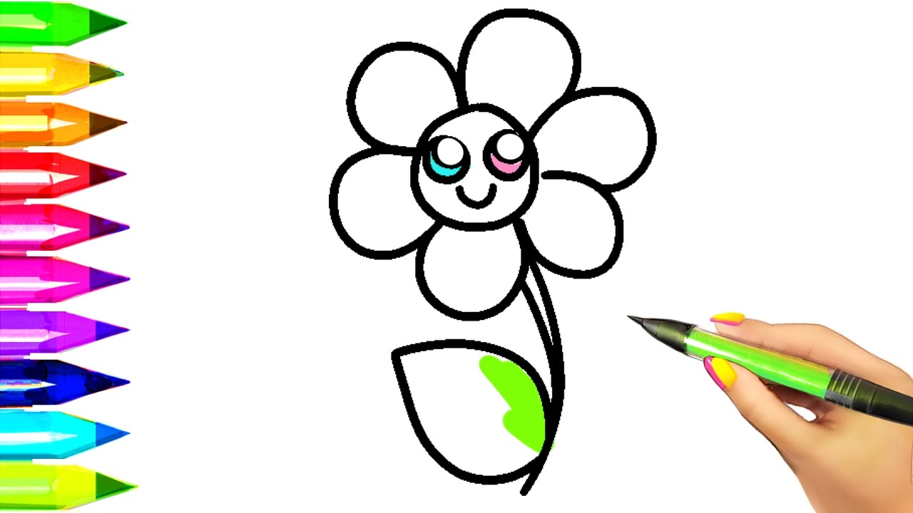 simple flower coloring pages for kids easy example how to draw and color flowers