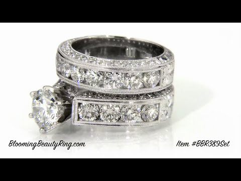 Wedding Ring Sets For Her Item #BBR389-Set By BloomingBeautyRing.com