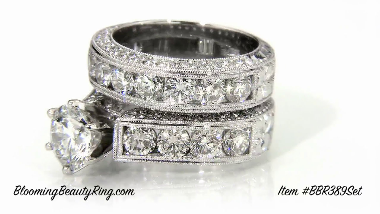 wedding ring sets for her item bbr389 set by bloomingbeautyringcom youtube - Wedding Ring Settings