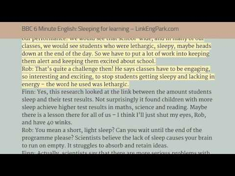 BBC 6 minute English '13   Sleeping for learning listen & read