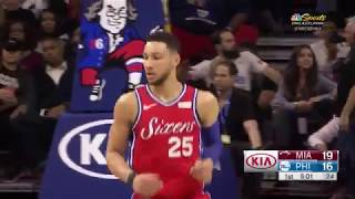 Ben Simmons Records Triple-Double in 76ers' Win over Heat