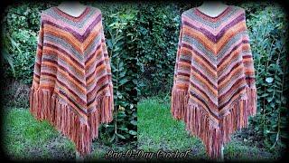 Easy Crochet Poncho - Autumn Stripes - Bag O Day Crochet Tutorial #623