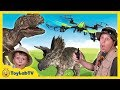 T-Rex Drone vs Park Ranger Aaron & Life Size Dinosaurs In Real Life & Surprise Toys Fun Kids Video