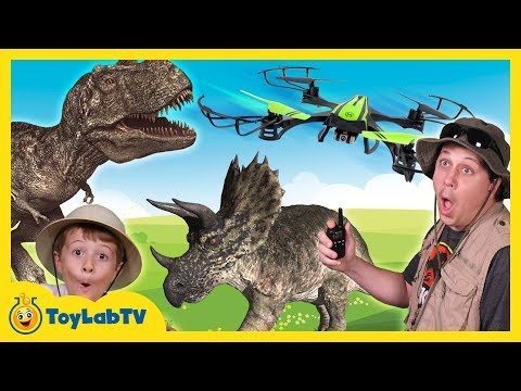 T-Rex Drone Face Off with Park Ranger Aaron, Life Size Dinosaurs & Surprise Toys, Fun Kids Video