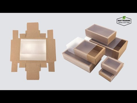 How to Fold Brown Kraft Paper Folding Drawer Boxes with Frosted PVC Cover