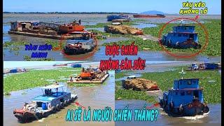 HẤP DẪN/ Hai Anh Tàu Kéo Đọ Sức Mạnh Động Cơ Kéo Phà Và Ghe Vượt Cống |Power tugboat - Long Miền Tây