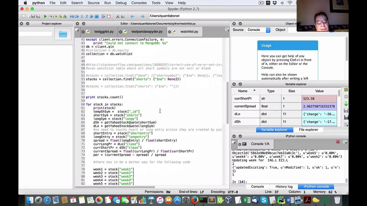 Demo of pair trading watchlist in Python