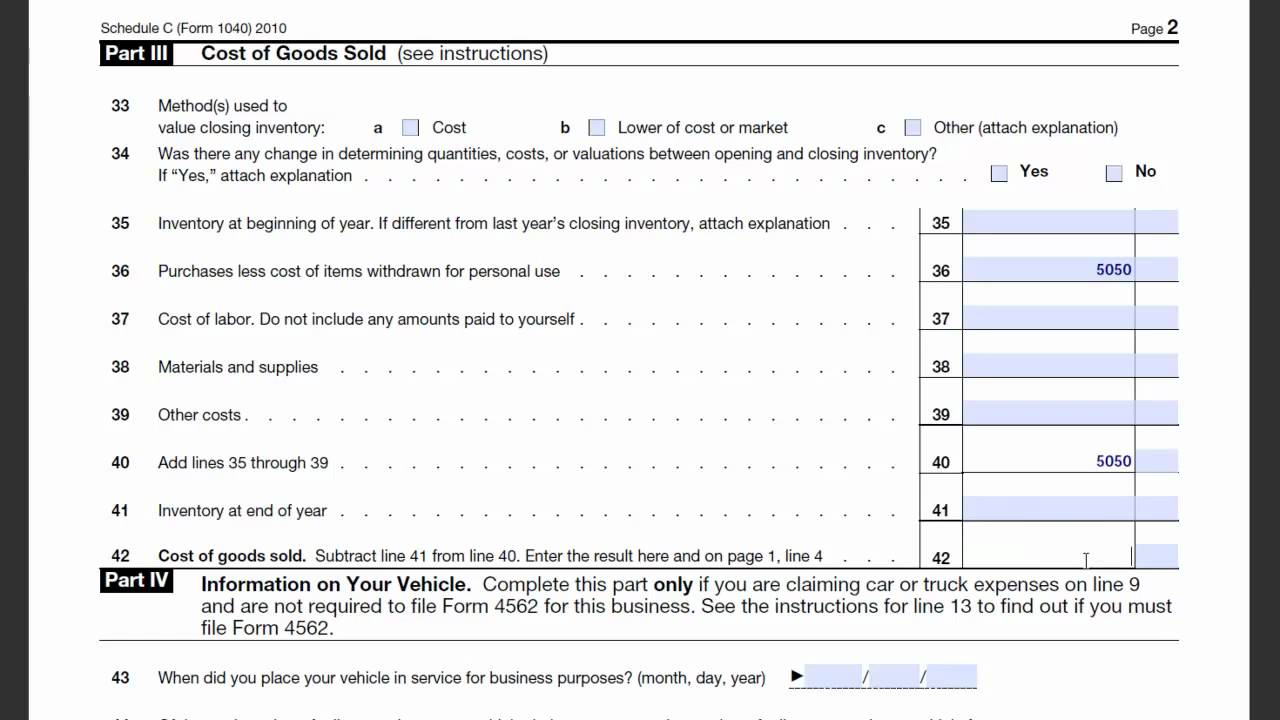 Sch c cogs form 1040 tax return preparation youtube sch c cogs form 1040 tax return preparation falaconquin