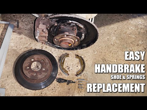 How to replace Volvo Parking Brake / Handbrake  Shoes and springs on S60, S80, V70, XC70, XC90
