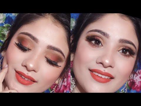 golden Orange glam Makeup || affordable Makeup || shystyles