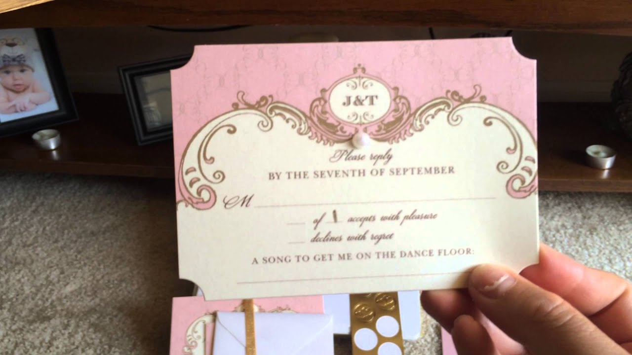 My blush and gold wedding invitations Wedding Paper Divas YouTube