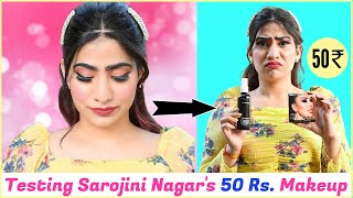 Tried 50 Rs. Makeup Products!!!! | Sarojini Nagar | Anishka Khantwaal |