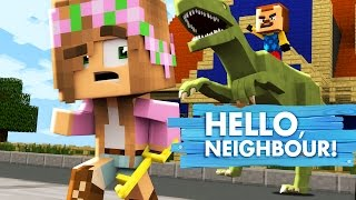 Minecraft Baby Hello Neighbour - LITTLE KELLY SAVES US FROM THE NEIGHBOUR AND HIS PET DINOSAUR!