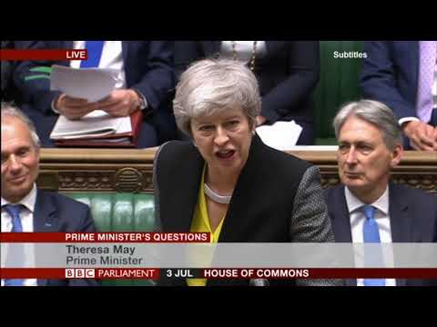Theresa May and Jeremy Corbyn clash over Brexit at PMQs