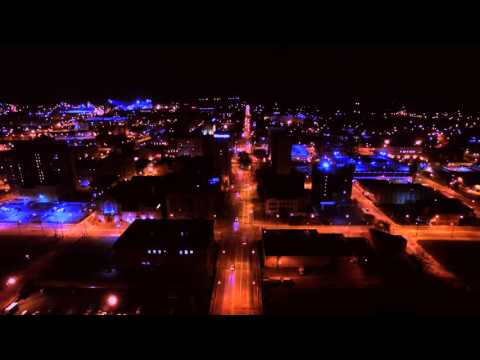 Aerial view of Youngstown, Ohio at Night - Bruce Springsteen