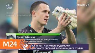 Смотреть видео В аэропорту Внуково задержали футболиста Андрея Лунева - Москва 24 онлайн