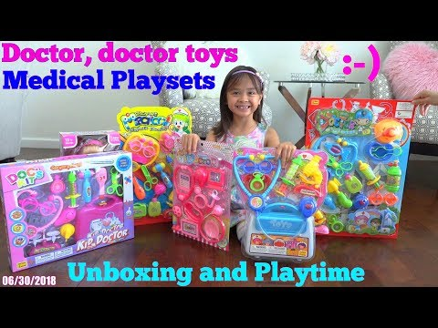 Kids' Medical Doctor Pretend Playtime with Hulyan and Maya. Doctor's Equipment Playsets Unboxing