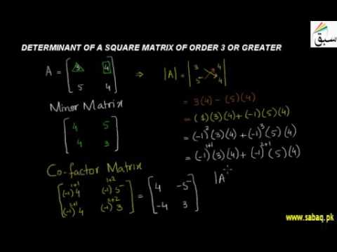 Determinant of square matrix of order 3 or greater