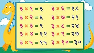 Table of 3 in Marathi | तीन चा पाढा | Multiplication Tables in Marathi | Pre School Learning Video