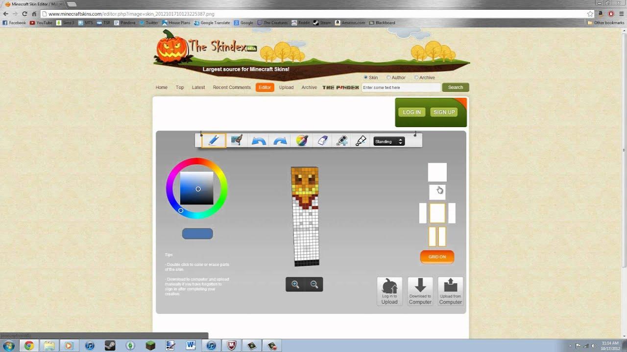 Minecraft Skin Editor Easy Skindex Editor YouTube - Skins para minecraft 1 8 skindex