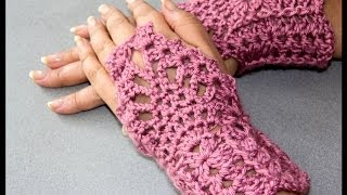 Repeat youtube video Crochet : Guantes sin dedos (Mitones) 2