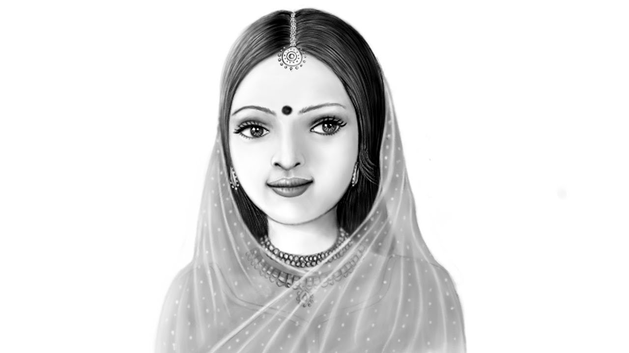 Pencil sketch drawing in mypaint beautiful indian girl how to draw drawing tips