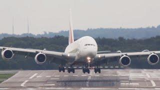 STORM !! Airbus A380 CROSSWIND Landing at Düsseldorf