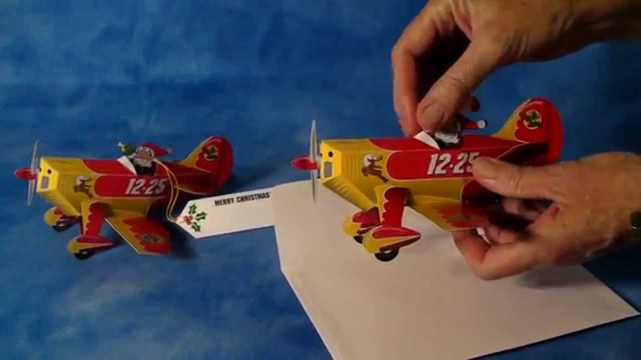 santas airplane pop up christmas card ornament youtube - Airplane Christmas Cards