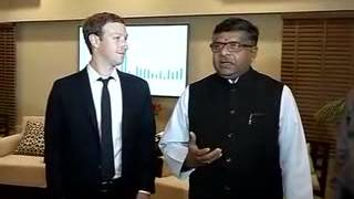 IT minister Ravi Prasad & Facebook CEO Zuckerberg on Digital India plan