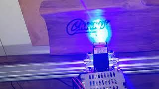 15w CNC Laser engraver engraving Hardwood trophy