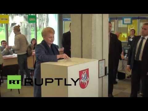 Lithuania: President Grybauskaite casts vote in Vilnius