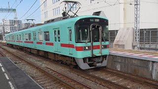 西鉄7050形(2両) 7155F  7653列車 普通(ワンマン) 大牟田行 西鉄久留米到着