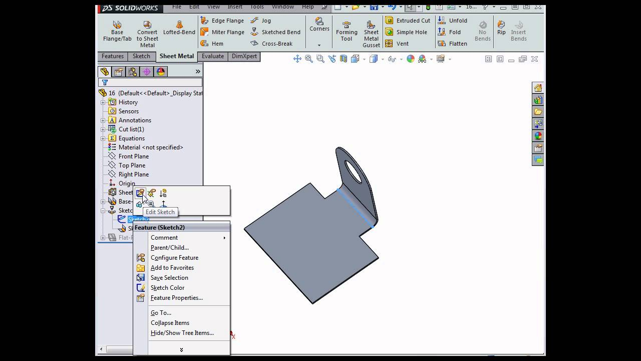 How To Create Sketched Bends Solidworks Tutorials Sheet