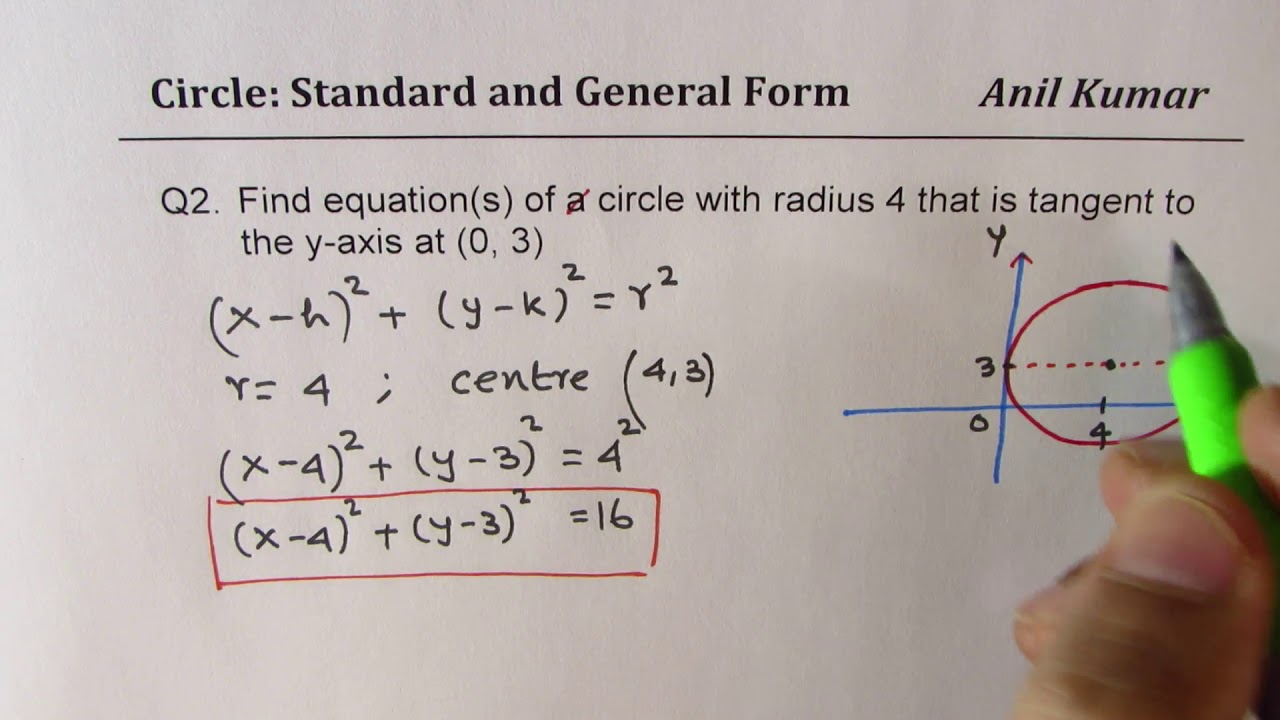 equation of circle standard and general form relation