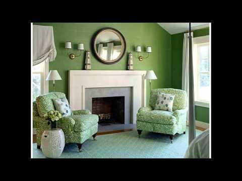 living room color schemes dark green - YouTube