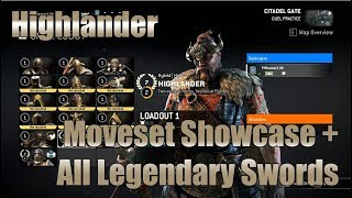 For Honor - Highlander Moveset + All Legendary Swords Showcase