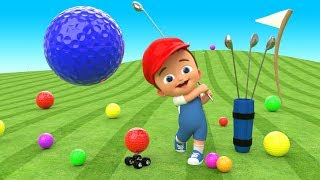 crazy baby mini golf fun game play   learn colors for children with golf balls 3d kids educational