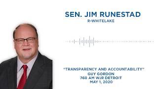 Sen. Runestad joins Guy Gordon on WJR to discuss transparency