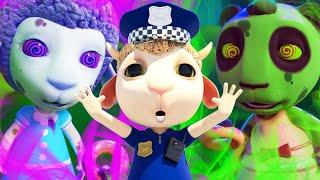 No No, Baby Panda! Don't Tease Policeman Johny! Kids Pretend Play Zombies + Nursery Rhymes & Songs