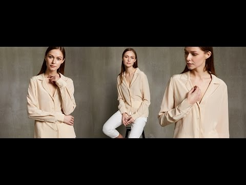 #LilySilk V Neck Button Front Long Sleeve Silk Shirts & Blouses
