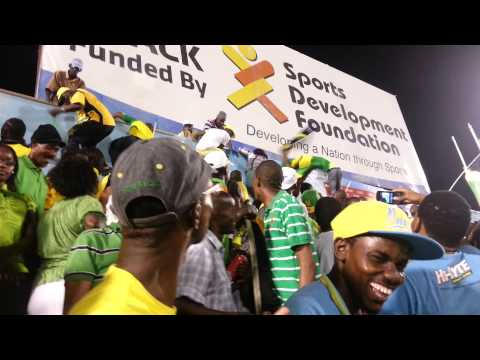 Jamaica vs Panama jumping the stadium walls
